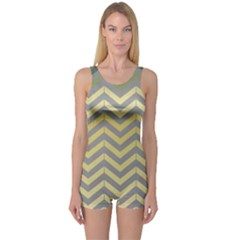 Abstract Vintage Lines One Piece Boyleg Swimsuit