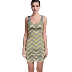 Abstract Vintage Lines Sleeveless Bodycon Dress
