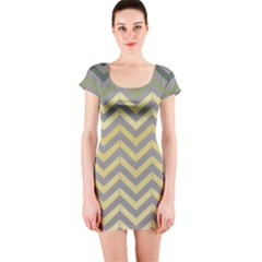 Abstract Vintage Lines Short Sleeve Bodycon Dress