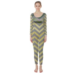 Abstract Vintage Lines Long Sleeve Catsuit