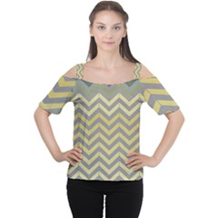 Abstract Vintage Lines Women s Cutout Shoulder Tee