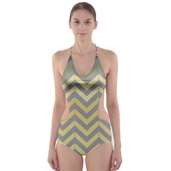 Abstract Vintage Lines Cut-Out One Piece Swimsuit