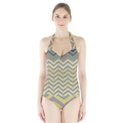 Abstract Vintage Lines Halter Swimsuit