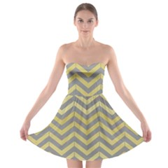 Abstract Vintage Lines Strapless Bra Top Dress