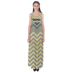 Abstract Vintage Lines Empire Waist Maxi Dress