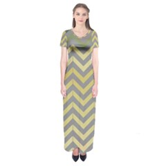 Abstract Vintage Lines Short Sleeve Maxi Dress
