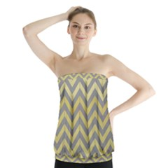 Abstract Vintage Lines Strapless Top