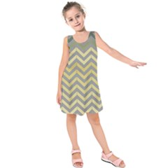 Abstract Vintage Lines Kids  Sleeveless Dress