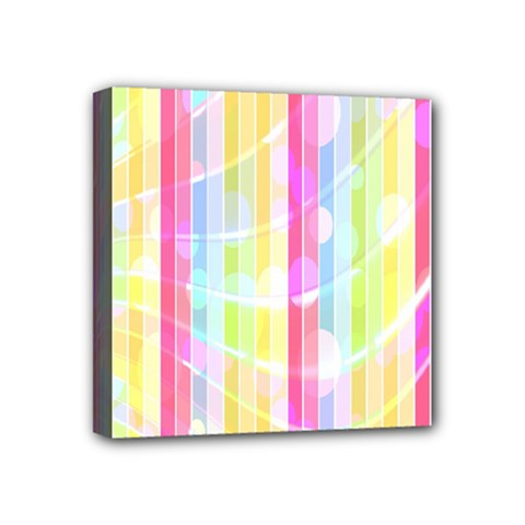 Colorful Abstract Stripes Circles And Waves Wallpaper Background Mini Canvas 4  X 4