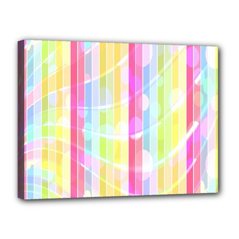 Colorful Abstract Stripes Circles And Waves Wallpaper Background Canvas 16  X 12