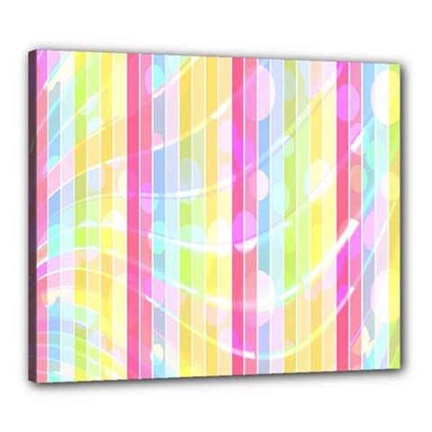 Colorful Abstract Stripes Circles And Waves Wallpaper Background Canvas 24  x 20