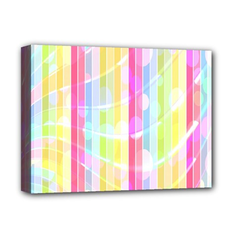 Colorful Abstract Stripes Circles And Waves Wallpaper Background Deluxe Canvas 16  x 12