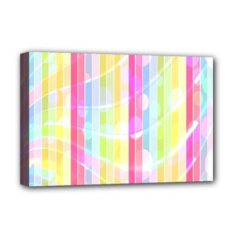 Colorful Abstract Stripes Circles And Waves Wallpaper Background Deluxe Canvas 18  x 12