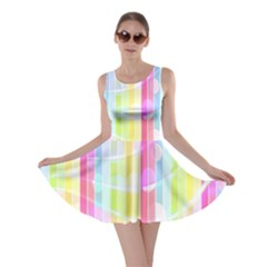 Colorful Abstract Stripes Circles And Waves Wallpaper Background Skater Dress