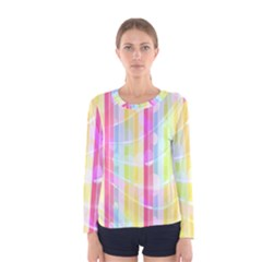 Colorful Abstract Stripes Circles And Waves Wallpaper Background Women s Long Sleeve Tee