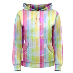 Colorful Abstract Stripes Circles And Waves Wallpaper Background Women s Pullover Hoodie