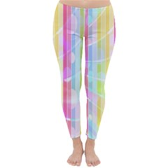Colorful Abstract Stripes Circles And Waves Wallpaper Background Classic Winter Leggings