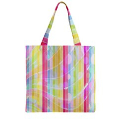 Colorful Abstract Stripes Circles And Waves Wallpaper Background Zipper Grocery Tote Bag
