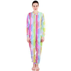 Colorful Abstract Stripes Circles And Waves Wallpaper Background OnePiece Jumpsuit (Ladies)