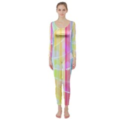 Colorful Abstract Stripes Circles And Waves Wallpaper Background Long Sleeve Catsuit