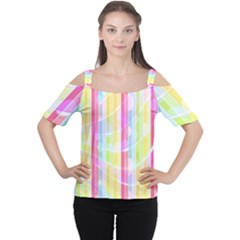 Colorful Abstract Stripes Circles And Waves Wallpaper Background Women s Cutout Shoulder Tee