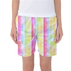 Colorful Abstract Stripes Circles And Waves Wallpaper Background Women s Basketball Shorts