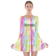 Colorful Abstract Stripes Circles And Waves Wallpaper Background Long Sleeve Skater Dress