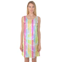 Colorful Abstract Stripes Circles And Waves Wallpaper Background Sleeveless Satin Nightdress