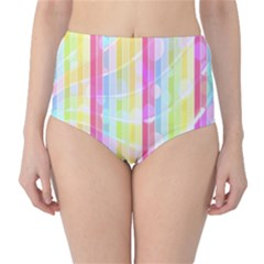 Colorful Abstract Stripes Circles And Waves Wallpaper Background High Waist Bikini Bottoms