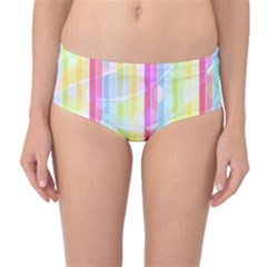 Colorful Abstract Stripes Circles And Waves Wallpaper Background Mid Waist Bikini Bottoms