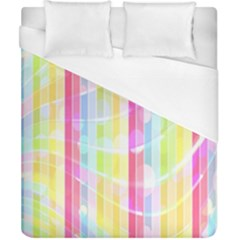 Colorful Abstract Stripes Circles And Waves Wallpaper Background Duvet Cover (california King Size)