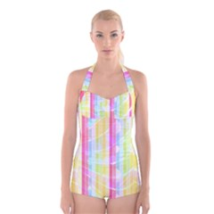 Colorful Abstract Stripes Circles And Waves Wallpaper Background Boyleg Halter Swimsuit