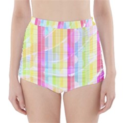 Colorful Abstract Stripes Circles And Waves Wallpaper Background High-Waisted Bikini Bottoms