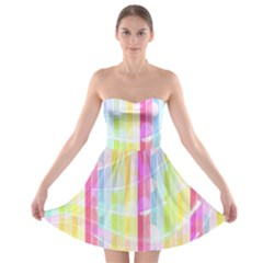 Colorful Abstract Stripes Circles And Waves Wallpaper Background Strapless Bra Top Dress