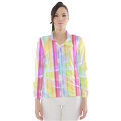 Colorful Abstract Stripes Circles And Waves Wallpaper Background Wind Breaker (women)