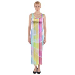 Colorful Abstract Stripes Circles And Waves Wallpaper Background Fitted Maxi Dress