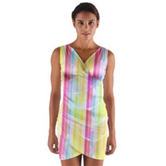 Colorful Abstract Stripes Circles And Waves Wallpaper Background Wrap Front Bodycon Dress
