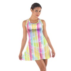 Colorful Abstract Stripes Circles And Waves Wallpaper Background Cotton Racerback Dress