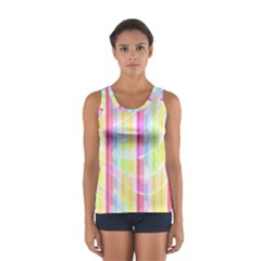 Colorful Abstract Stripes Circles And Waves Wallpaper Background Women s Sport Tank Top