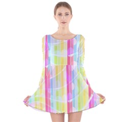Colorful Abstract Stripes Circles And Waves Wallpaper Background Long Sleeve Velvet Skater Dress
