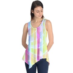 Colorful Abstract Stripes Circles And Waves Wallpaper Background Sleeveless Tunic