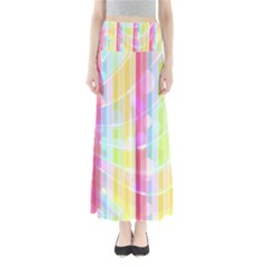 Colorful Abstract Stripes Circles And Waves Wallpaper Background Maxi Skirts