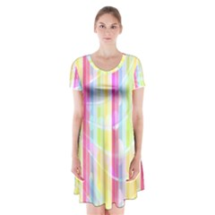 Colorful Abstract Stripes Circles And Waves Wallpaper Background Short Sleeve V Neck Flare Dress