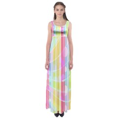 Colorful Abstract Stripes Circles And Waves Wallpaper Background Empire Waist Maxi Dress