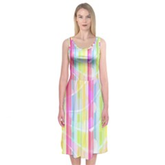 Colorful Abstract Stripes Circles And Waves Wallpaper Background Midi Sleeveless Dress