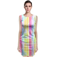 Colorful Abstract Stripes Circles And Waves Wallpaper Background Classic Sleeveless Midi Dress