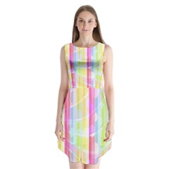 Colorful Abstract Stripes Circles And Waves Wallpaper Background Sleeveless Chiffon Dress