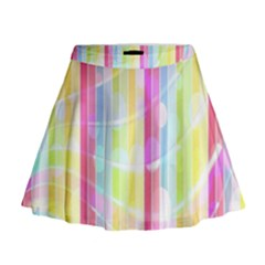 Colorful Abstract Stripes Circles And Waves Wallpaper Background Mini Flare Skirt