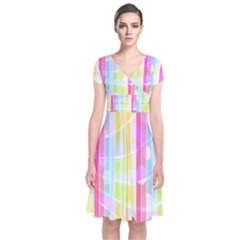 Colorful Abstract Stripes Circles And Waves Wallpaper Background Short Sleeve Front Wrap Dress