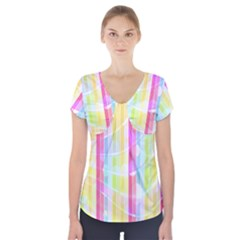 Colorful Abstract Stripes Circles And Waves Wallpaper Background Short Sleeve Front Detail Top